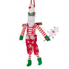 Gisela Graham Hanging Santa With Dotty Pattern Clothing - 12cm