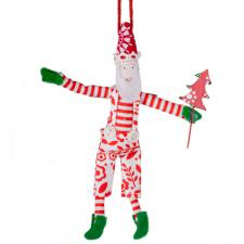 Gisela Graham Hanging Santa With Flower Pattern Clothing - 12cm