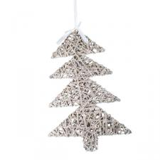 Grey Willow Wicker Hanging Tree Decoration - 53cm x 36cm