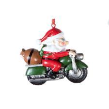 Novelty Santa On Motorbike Hanging Decoration - 7cm