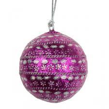 Silver & Pink Flower Design Hanging Bauble - 80mm