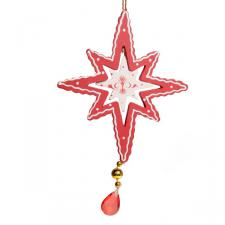 Wooden Hanging Star With Jewel Detail - 14cm