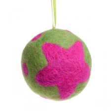 Fairtrade Hand Made Lime & Cerise Wool Stars Design Hanging Decoration - 65mm Diameter