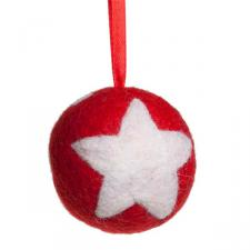 Fairtrade Hand Made Red & White Wool Stars Design Hanging Decoration - 65mm Diameter