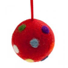 Fairtrade Hand Made Red Wool Spotty Design Hanging Decoration - 60mm Diameter