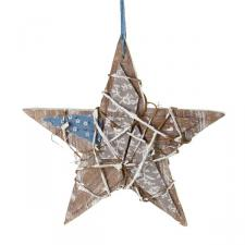 Natural Wooden Effect Hanging Star - 18.5cm