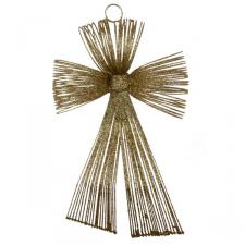 Gold Glitter Loop Bow Decoration - 20cm