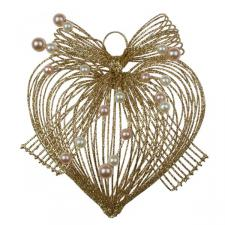 Gold Glitter Loop Heart Decoration - 10cm