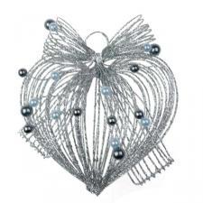 Silver Glitter Loop Heart Decoration - 10cm