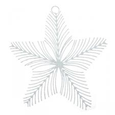 White Flat Curved 5 Point Star Decoration - 150mm