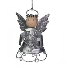 Silver Metal Angel with Crown and Trumpet - 9cm