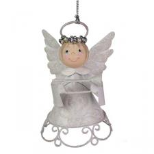 White Metal Angel With Crown And Trumpet - 9cm
