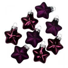 Aubergine Glass Stars - 8 x 40mm