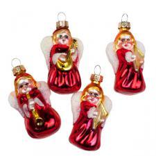 Mini Glass Angel Decorations - 4 X 57mm
