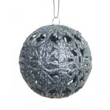 Silver Glitter Filigree Ball - 80mm