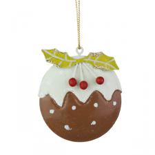 Gisela Graham Flat Tin Christmas Pudding Decoration - 6cm