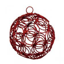 Red Glittered Filligree Decoration - 75mm