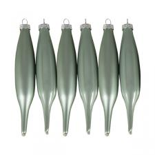 Pale Sage Green Glass Icicle Hangers - 6 x 15cm