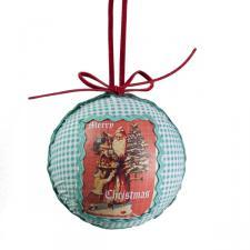 Nostalgic Santa Blue Gingham Textile Ball - 80mm