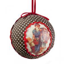 Nostalgic Santa White Spotty Textile Ball - 80mm