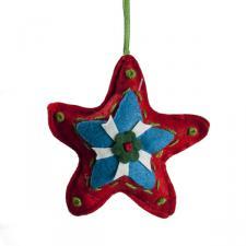 Decorated Textile Star Hanger - 11cm