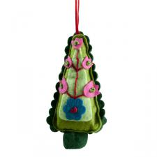 Decorated Textile Christmas Tree Hanger - 11cm