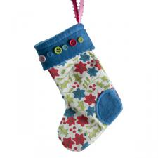 Gisela Graham Vintage Holly & Flower Fabric Stocking - 15cm