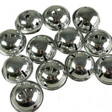 Tube Of 12 Silver Shiny Jingle Bells - 38mm