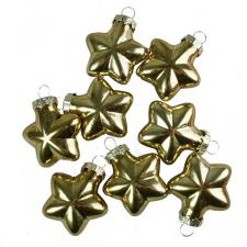 Shiny Gold Glass Star Decorations - 8 x 40mm