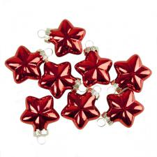 Shiny Red Glass Star Decorations - 8 x 40mm