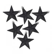 Pack Of 6 X 100mm Black Shatterproof Star Hanging Decorations