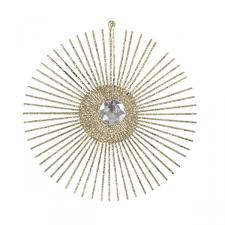 Gold Glitter & Jewel Starburst Hanging Decoration - 15cm