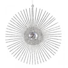 Silver Glitter & Jewel Starburst Hanging Decoration - 15cm