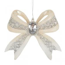 Acrylic Cream Bow Hanging Decoration With Gemstone Centre And Silver Glitter - 12cm