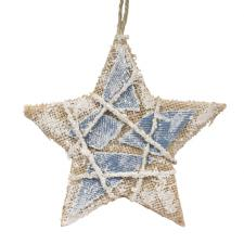 Natural Effect Hanging Star With Blue Fabric Detail - 13cm