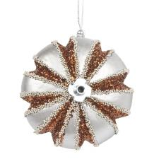 Pewter, Copper & Platinum Segmented Disc Hanging Decoration - 100mm