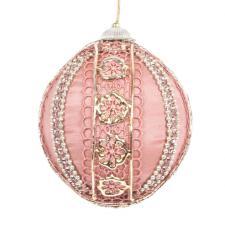 Pink & Platinum Lace Trimmed Opulent Satin Bauble - 100mm