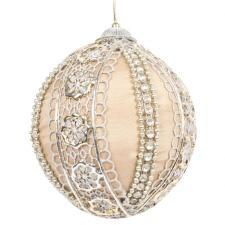 Platinum & Silver Lace Trimmed Opulent Satin Bauble - 100mm