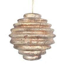 Copper & Platinum Ridged Hanging Decoration - 100mm