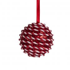 Red & White Candy Striped Hanging Decoration - 100mm Bauble