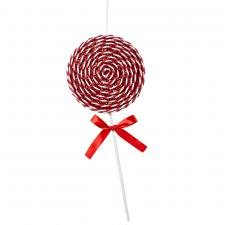 Red & White Candy Striped Hanging Decoration - 36cm Lollipop