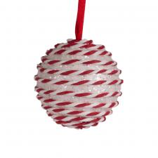 White & Red Candy Striped Hanging Decoration - 100mm Bauble