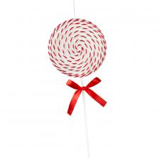 White & Red Candy Striped Hanging Decoration - 36cm Lollipop