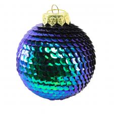 Blue & Green Sequin Ball Hanging Decoration - 80mm
