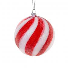 Red & White Candy Striped Hanging Decoration - Bauble