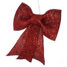 Red Glitzy Bow Decoration - 22cm X 30cm