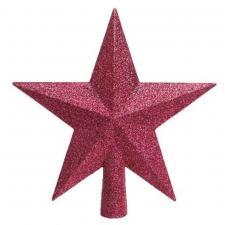 Bubblegum Pink Shatterproof Tree Top Glitter Star - 19cm
