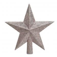 Blush Pink Shatterproof Tree Top Glitter Star - 19cm