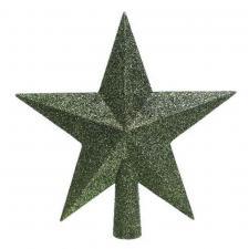 Dark Green Shatterproof Tree Top Glitter Star - 19cm