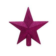 Deep Magnolia Pink Shatterproof Tree Top Glitter Star - 19cm